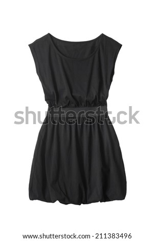 Little black mini dress with fluffy skirt on white background - stock photo
