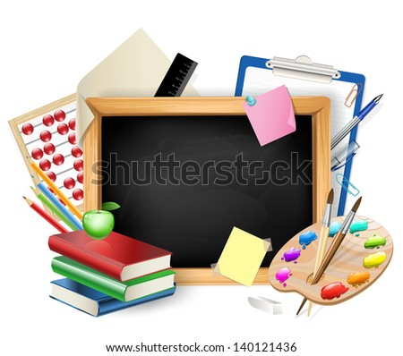 little blackboard as background with pens,pencils,books,apple - stock photo