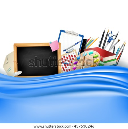 little blackboard border with notepad sheets, color pencils, pens, ruler,art palette, pile of books and blue silky curtain - stock photo