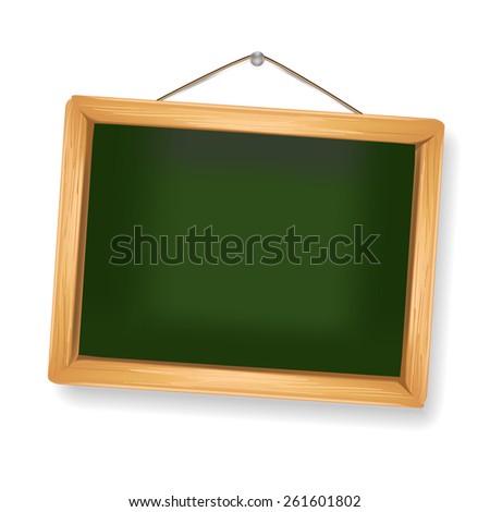 little blackboard hanging on white - stock photo