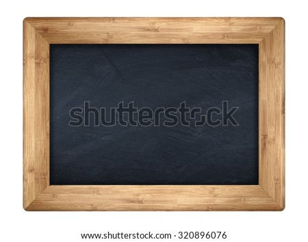 little blackboard with wooden bamboo frame - stock photo