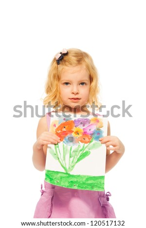 Little blond girl showing her drawing picture with flowers, isolated on white - stock photo