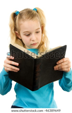 little blonde girl is reading the Holy Bible over white background