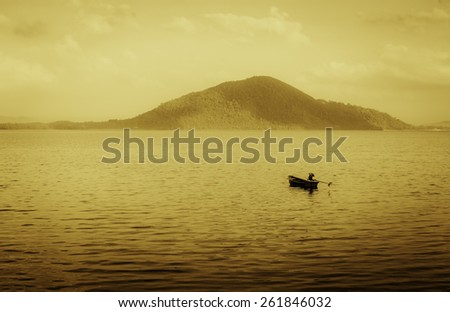 Little Boat in the lagoon with copy space