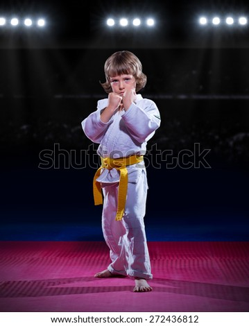 Little boy aikido fighter at sports hall - stock photo
