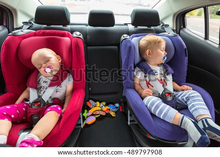Little Boy Twins Sleeping Car Stock Photo (Download Now ...