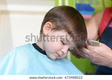 Little Boy Hairdresser Child Scared Haircuts Stock Photo 100 Legal