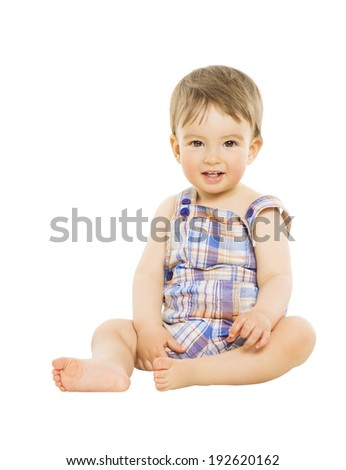 Little boy baby happy smiling, kid sitting over isolated white background  - stock photo