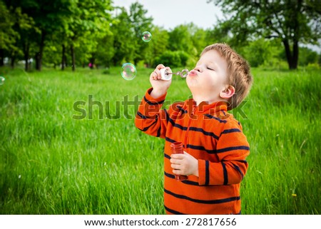Little boy blowing up the soap bubbles in park - stock photo