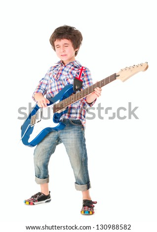 Little boy britpop style with electoguitar full body isolated on white - stock photo