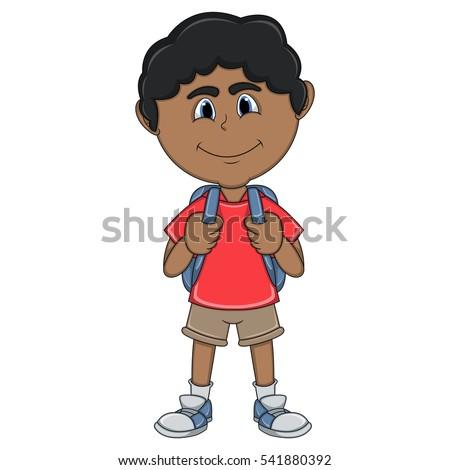 little boy carrying backpack cartoon stock illustration 541880392 rh shutterstock com little cartoon boy fishing little cartoon boy crying