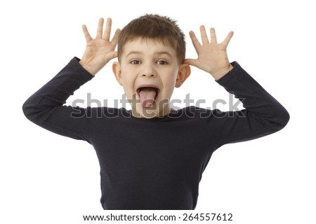 Little boy cock a snook at, sticking tongue, looking at camera. - stock photo