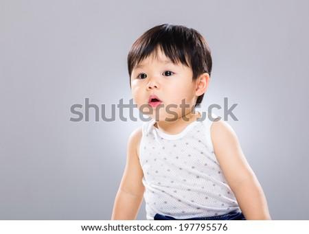 Little boy curious  - stock photo
