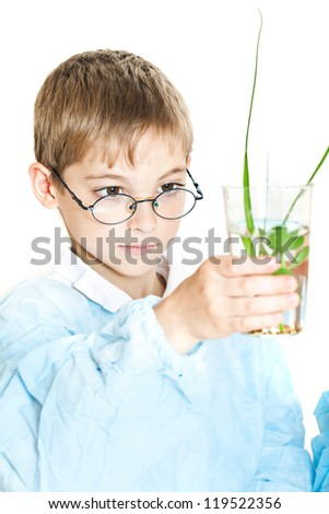 Little boy doing biochemistry research at the lab. Isolated on white - stock photo