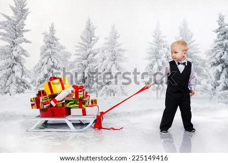 Little boy drags a huge heap of Christmas gifts. Collage. - stock photo