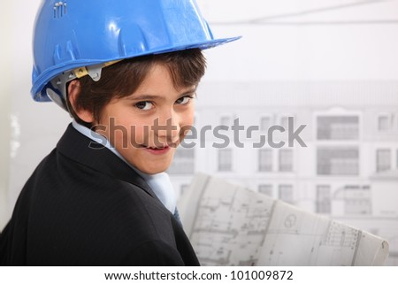 Little boy dressed as architect
