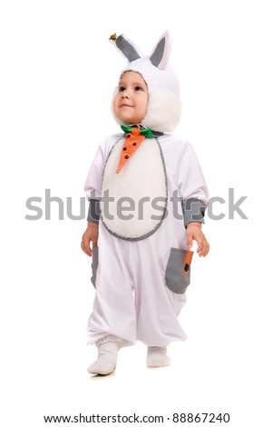 Little boy dressed as bunny. Isolated on white background - stock photo