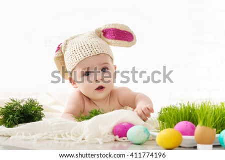 Little boy dressed bunny studio easter concept