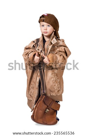 Little boy dressed in adult clothes with a big bag full length portrait isolated on white background - stock photo