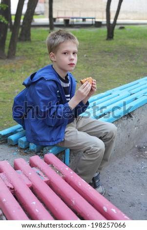 little boy eating hamburger in the park - stock photo