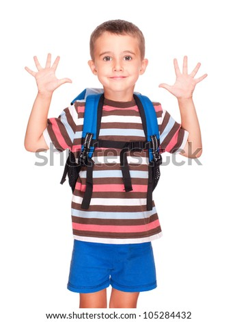 Little boy elementary student with backpack and sandwich box shows ten fingers isolated on white - stock photo