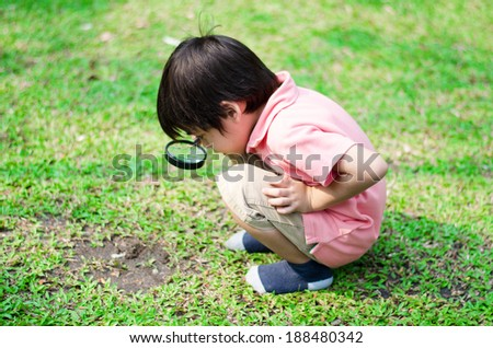 Little boy exploring with magnifying glass at the park - stock photo