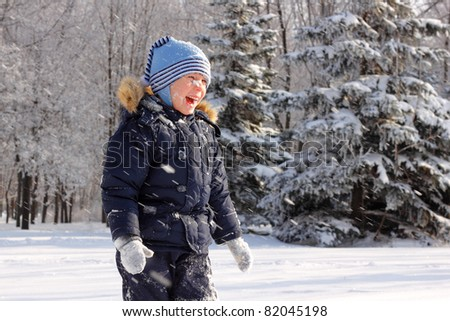 little boy happy have fun snow winter outdoor