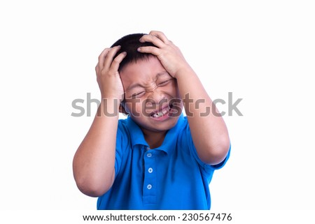 Little boy having a headache isolated - stock photo