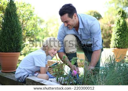 Little boy having fun with daddy gardening - stock photo