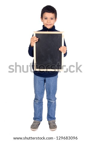 little boy holding a black board - stock photo