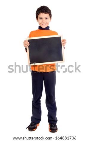 little boy holding blackboard isolated in white - stock photo