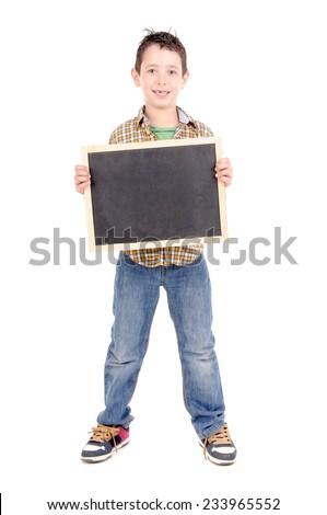 little boy holding blackboard isolated in white background - stock photo