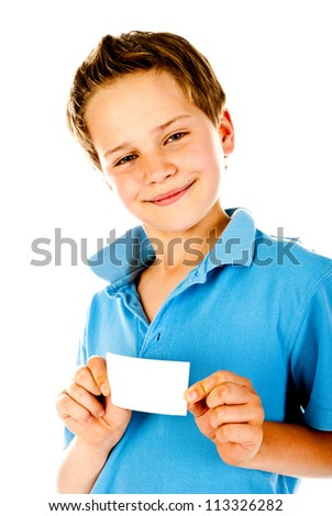 little boy holding empty card - stock photo