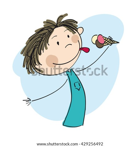 Little boy holding icecream - original hand drawn illustration