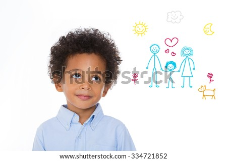 little boy imagine his future life in a new home with foster parents - stock photo