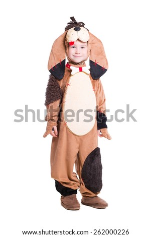 Little boy in a dog costume. Isolated on white - stock photo