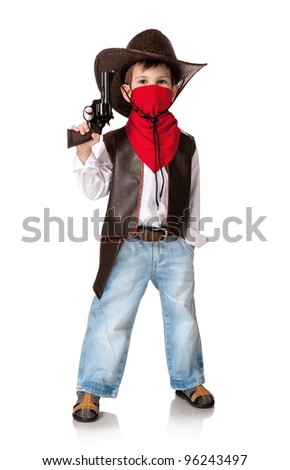 Little boy in a suit of the cowboy on a white background - stock photo