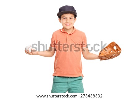 Little boy in an orange shirt and blue cap, wearing a baseball glove and holding a baseball isolated on white background - stock photo
