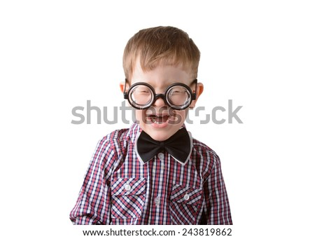 little boy in bow tie and glasses crying on a white background - stock photo
