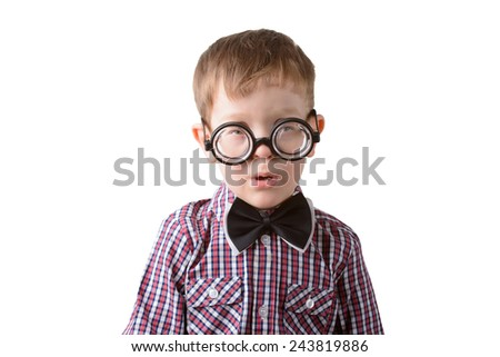 little boy in bow tie and glasses on a white background closeup - stock photo