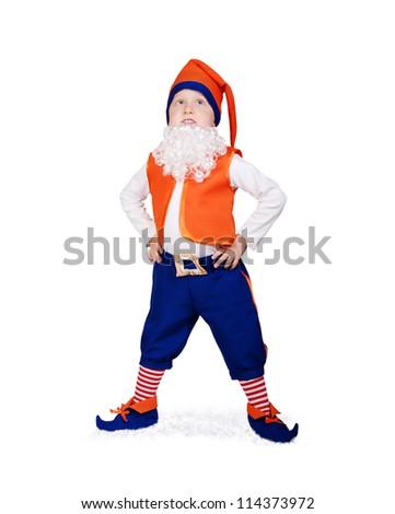 Little boy in christmas elf fancy-dress - stock photo