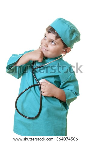 Little boy in doctor costume is posing and thinking while he's checking his own pulse to the camera. Isolated on white. - stock photo