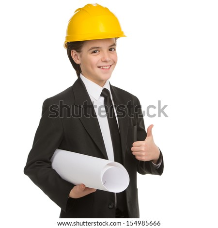 Little boy in hardhat. Cheerful little boy in formalwear and hardhat writing something on clipboard while isolated on white