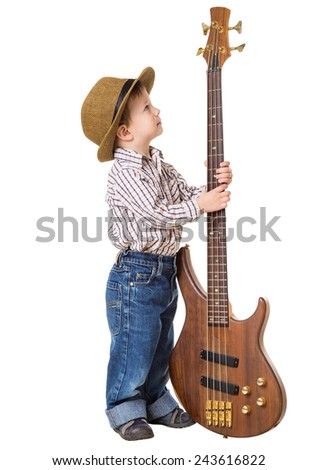 Little boy in hat standing with rock guitar, isolated on white - stock photo