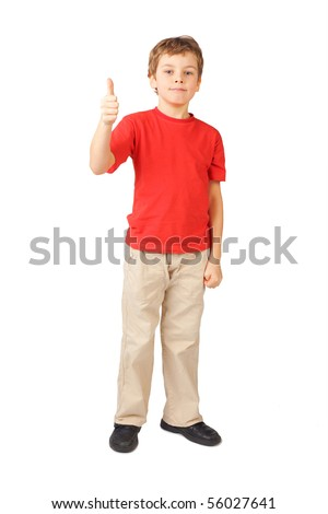 little boy in red shirt standing on white thumbs up gesture
