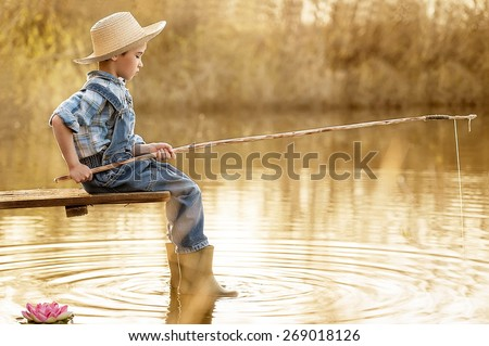 Boy fishing stock images royalty free images vectors for Little boy fishing