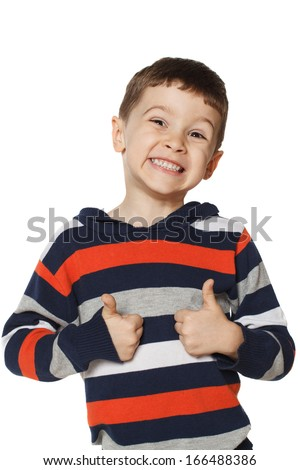 Little boy is happy and showing thumbs up - stock photo