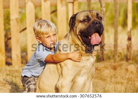 Little boy is playing with his large dog.