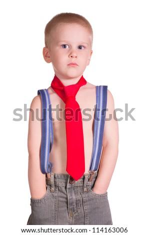 Little boy. Isolated against white background. - stock photo