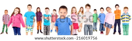 little boy isolated in white - stock photo